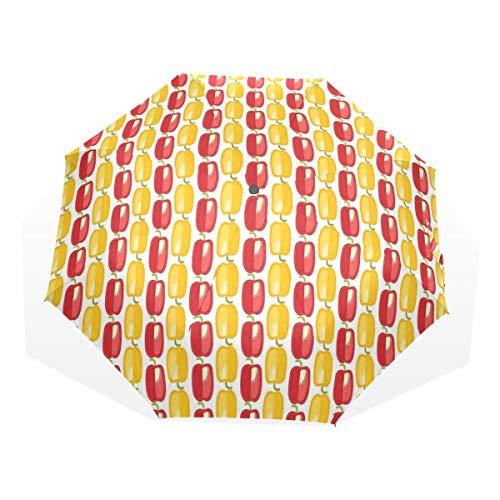 LASINSU Regenschirm,Bulgarisches Gemüsemuster im Gekritzel Art Landwirtschafts Bauernhof Design,Faltbar Kompakt Sonnenschirm UV-Schutz Winddicht Regenschirm