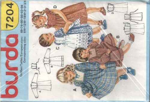 Buy Bargain Burda 7204 Sewing Pattern Girl's 6m 12m 18m 2 3 3/4 Raised Waist Front and Back Panel Dr...