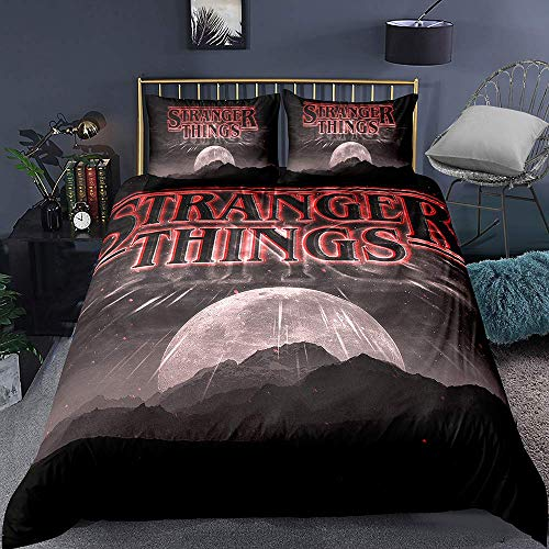 993 LICUNI Stranger Things 3-Piece Bedding Set with Duvet Cover and Pillow Case, Microfiber, 3D Digital Print, 04, Single 140 x 200 cm, 4, Super King 260x220cm