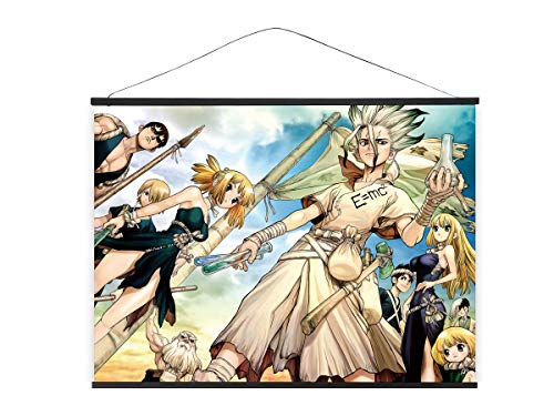 CoolChange XXL Poster para enrollar de Tejido de Dr. Stone | Kakemono 100x81cm | Grande Poster Anime | Tema: Senkuu Ishigami & Amigos
