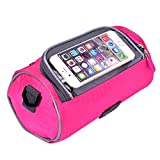 Yazer Bicycle Bags Durable Cycling Bicycle Bike Front Handlebar Bag with Transparent Pouch with iPhone Case for Map,Outdoor Activities,Riding (Pink)