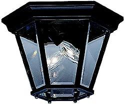Kichler Lighting 9850BK 2 Light Flush Outdoor Close to Ceiling Light, Black