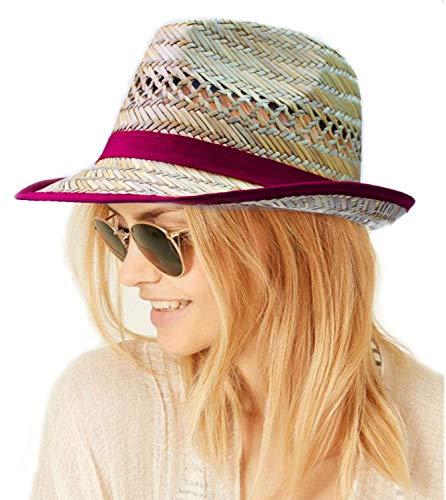 si moda Damen Panama Hut Panamahut Strohhut Fedora Sommerhut Trilby Strandhut Borsalino, Farbe:Bordeaux