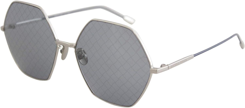 Bottega Veneta Hexagon BV 0201S 002 Silver Metal Fashion Sunglasses bluee Intrecciato Printed Lens