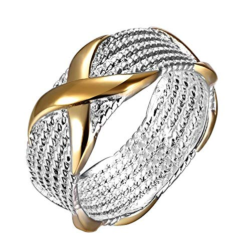 Cadoline Silver Plated Chainmail with Pattern Ring Size P 1/2 (UK, AU) 8 (US) Mesh Intertwined Woven Wicker Thumb
