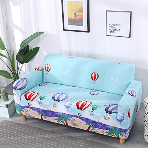 chuanglanja Furniture Protector Protectors Full Cover Sofa Cover,Sofa Protective Cover,Non-Slip Foam Strip,Hot Air Balloon Printing Blue-Double Seat 145-185cm