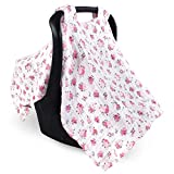 Luvable Friends Unisex Baby Muslin Car Seat Canopy, Floral, One Size