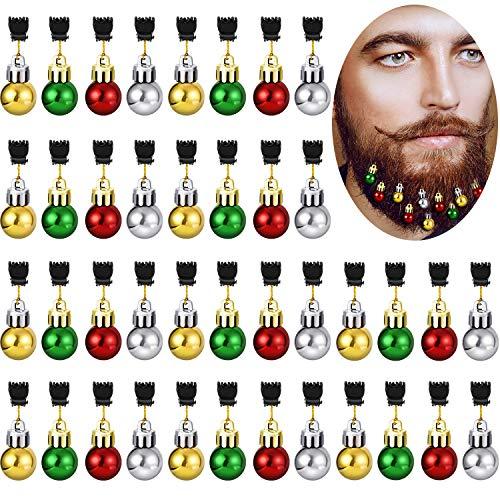 Gejoy 36 Pieces Christmas Beard Bells Colorful Beard Decorations Facial Ornaments Hair Baubles, 4 Colors