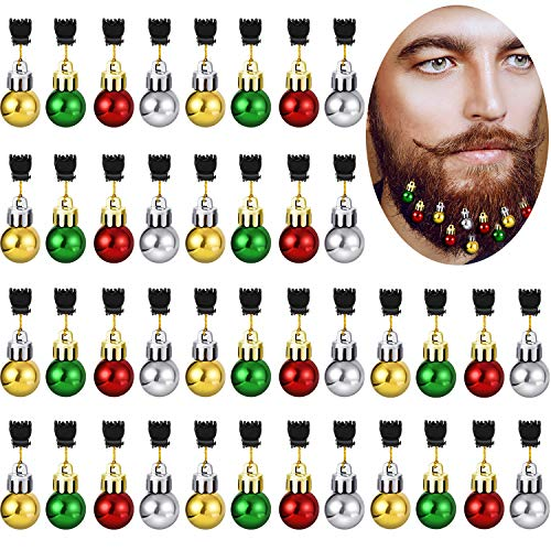 Gejoy 36 Pieces Christmas Beard Bells Colorful Beard Decorations Facial Ornaments Hair Baubles, 4 Colors
