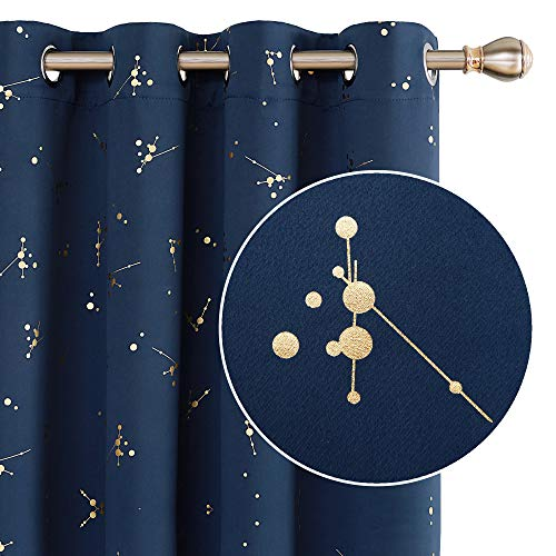 Deconovo Eyelet Blackout Curtains W46 x L90 Gold Printed Constellation Thermal Insulated Curtains for Living Room Navy Blue One Pair