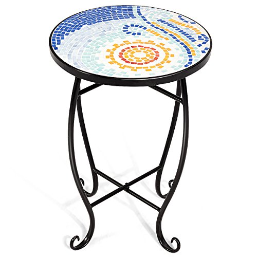 Giantex Mosaic Round Side Accent Table Patio Plant Stand Porch Beach Theme Balcony Back Deck Pool Decor Metal Cobalt Glass Top Indoor Outdoor Coffee End Table(Navy)