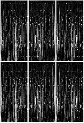 Foxxeo 6X Lametta Vorhang - schwarz - 91x244 cm - Glitzer Vorhänge Metallfolie Fensterdekoration Streifenvorhang Party Deko