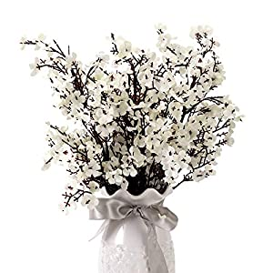 Baby's Breath Gypsophila Artificial Faux Flowers Cloth Artificial Filler Plants Strawflowers Decor Wedding Party Decoration Bridesmaid Bouquets for DIY Home Garden Outdoor Arrangements 5 Bundle