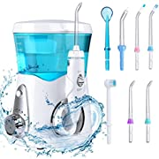 Water Flosser Family Oral Irrigator 8 Nozzles 10 Water Pressure Settings 600ml High-Volume Reservoir with Lid Cover by YASI Oral