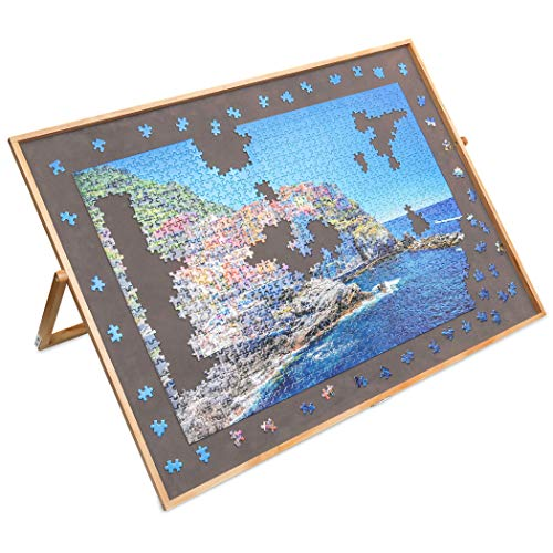 Lavievert Adjustable Wooden Puzzle Board Easel Jigsaw Puzzle Plateau Non-Slip Felt Surface Puzzle Table Accessory for Up to 1,500 Pieces Puzzles