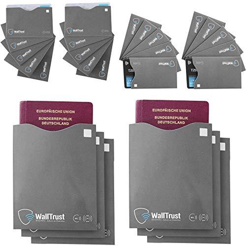 WallTrust RFID NFC Schutzhüllen aus Papier für Personalausweis, Kreditkarten + Reisepass, TÜV geprüft, 26er Set