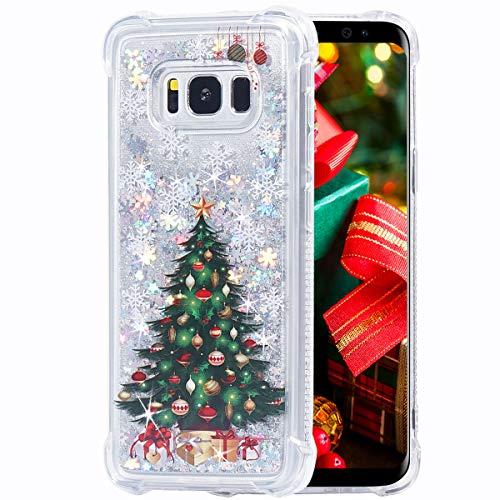 Flocute Galaxy S8 Case, Galaxy S8 Glitter Christmas Case Bling Sparkle Floating Liquid Soft TPU Cushion Luxury Fashion Girly Women Cute Case for Samsung Galaxy S8 (Christmas Tree)