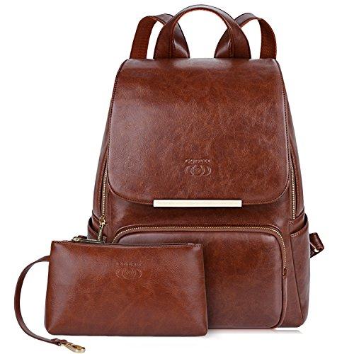 COOFIT Rucksack Damen Braun, Damen Rucksack Leder Rucksack für Mädchen Schultasche Casual Daypack Schulrucksäcke Tasche Schulranzen