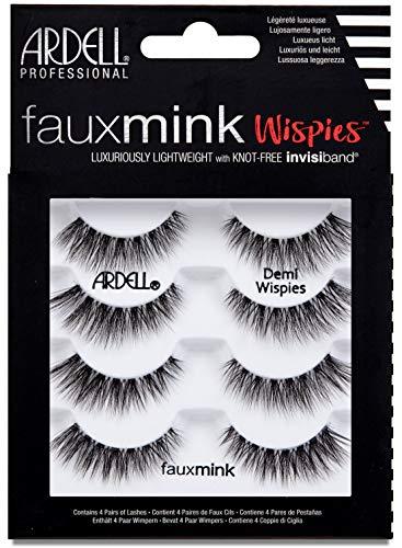 ARDELL Faux Mink Demi Wispies 4 Pack, 25 g Wimpern aus Synthetikhaar, vegan, schwarz/black, (ohne Wimpernkleber), ultraleicht, flexibel und wiederverwendbar