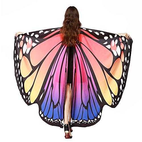 SERWOO Chal Alas Mariposa Estolas Duendecillo para Carnaval Mujer Capa de Muchacha Accesorio para Disfraz Playa Fiesta (Rosa)