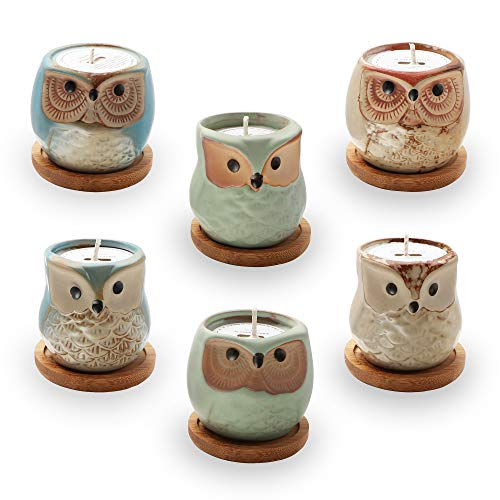 Kinforse Citronella Candles Outdoor Large Scented Owl Jar Candles Set Aromatherapy Long Lasting Essential Oil Soy Wax for Home Garden Patio Balcony 6 Pack