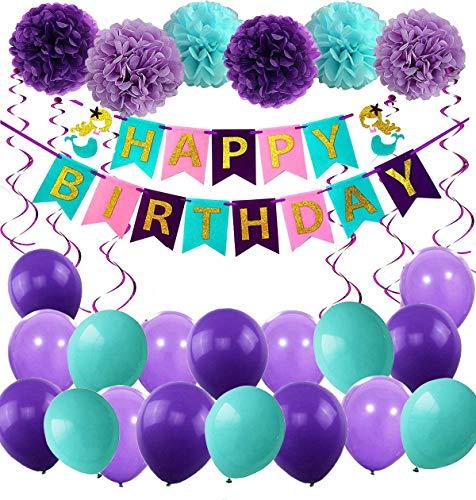 MAKFORT Geburtstag Deko Mädchen Meerjungfrau Thema Party Dekoration Happy Birthday Girlande Mit Shell Luftballons Lila und Blau für Meerjungfrau Partyzubehör