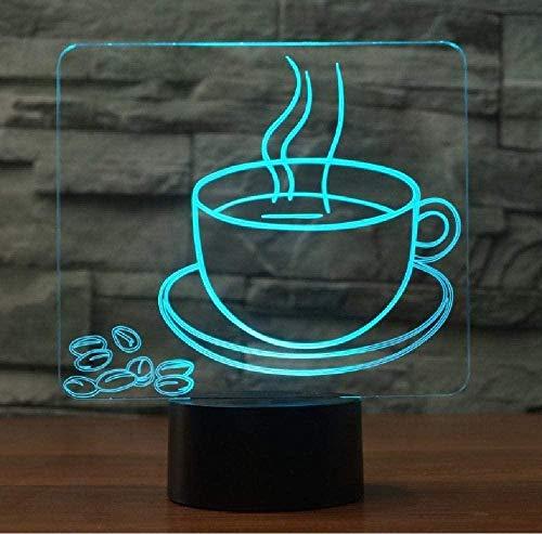 LSDAMN 7 Cambio de color Taza de café Modelo de granos Luz de noche 3D Lámpara de mesa USB LED para oficina en casa Cafetería Decoración Amigo Regalo de Navidad Smartphone Control de Bluetooth