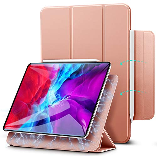 "ESR Rebound Magnetic Smart Case para iPad Pro 12,9""2020/2018, Acessório Magnético Conveniente [Suporta Pencil Pairing & Charging] Capa Smart Case, Case Auto Sleep/Wake Trifold Stand - Rose Gold"