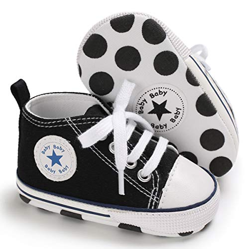 myggpp Tutoo Unisex Baby Boys Girls Star High Top Sneaker Soft Anti-Slip Sole Newborn Infant First Walkers Canvas Denim Shoes A01-black, 12-18 Months Toddler