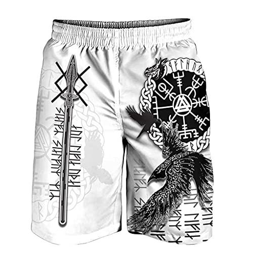 Camiseta Vikinga Hombre Floki Valhalla Camiseta Vikinga Odin Valknut - Camisa Divertida Estilo Artístico - Camisetas Poliéster Sublimación Padres y Adolescentes,Odin Shorts,XL