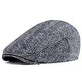 ArtiDeco Barett Cap Herren Gatsby Schirmmütze Newsboy Flat Cap Baskenmütze (Grau New, Large/Etikettgröße- 59)