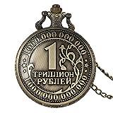 LEYUANA Reloj de Bolsillo Retro Antiguo de la Moneda del Bronce, Regalos coleccionables Superiores coleccionables de la Corona del Arte