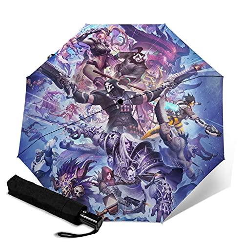 Storm Game Hero World Warcraft Paraguas automático portátil de tres pliegues, cortavientos, impermeable, antirrayos UV, apertura automática, paraguas plegable compacto y portátil