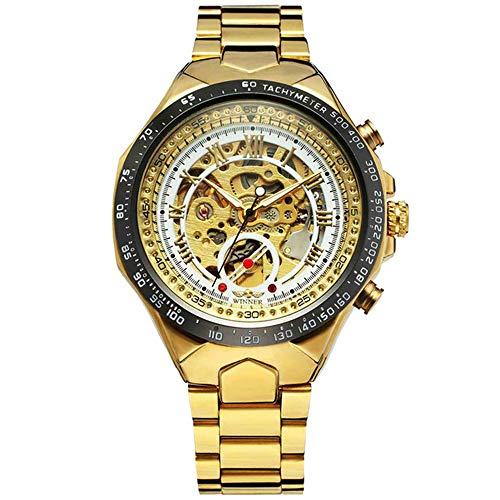Hombres Relojes de Oro Reloj mecánico automático Reloj de Pulsera Esqueleto Masculino Banda de Acero Inoxidable Marca Diseño Deportivo