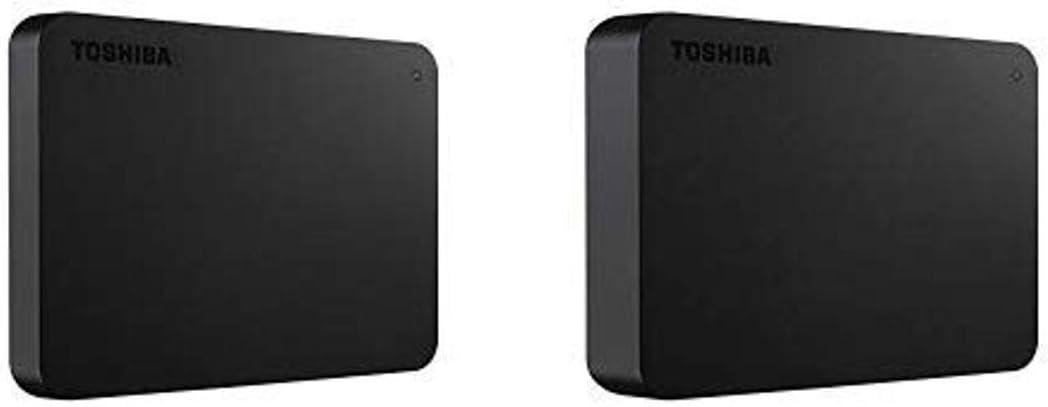 Toshiba HDTB420XK3AA Canvio Basics 2TB Portable External Hard Drive USB 3.0, Black with 4TB Portable External Hard Drive USB 3.0, Black