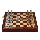 CAIM Sólido Madera Juego de ajedrez, Estilo Retro Pedazos del Metal de Bronce, Tablero de ajedrez Plegable Especial for Adultos y Regalos de los niños y Juegos de Mesa