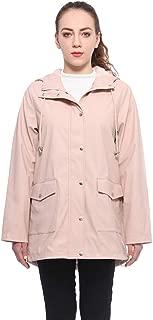 Women's Lightweight Waterproof Hooded Rubberized Rain Jacket Windbreaker Raincoat Parka Anorak