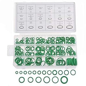 KATUR Surtido de juntas tóricas universales, 270 piezas, 18 tamaños, diámetro interno de 7 / 32-11 / 16 pulgadas, juntas tóricas de goma verde para arandelas de sellado para plomería, automotriz