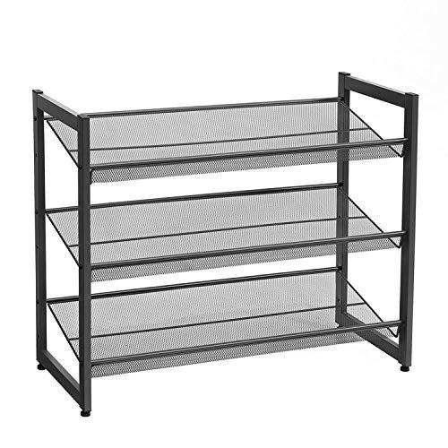 TONG MIAOMIAO - Zapatero integrado de hierro simple para puerta de casa, zapatero de almacenamiento (color: negro)