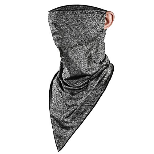 fancyfree Protective Neck Gaiter with Ear Hanging, Cycling Neck Sleeve, UV Bandana Scarf, Balaclava, Summer Breathable Face Mask for Women and Men-06 (Gray)