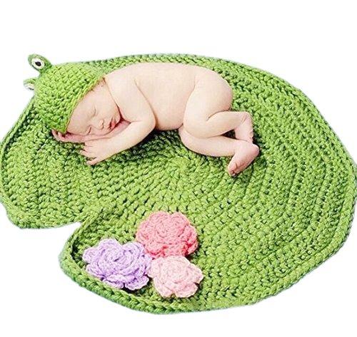 DELEY Baby Boys Uncinetto Maglia Rana Hat Costume foglia di Loto Coperta Neonato Foto Puntelli 0-6 Mesi