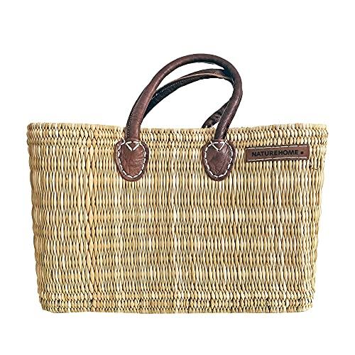 NATUREHOME Bolsa tejida a mano con juncos, hojas de palmera, bolsa de playa de paja con asas de piel, bolsa natural para piscina, Bolsa de playa pequeña caña, 40x25x15 cm