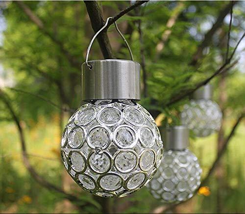 FYSH Lámpara de Pared a Prueba de Polvo a Prueba de AGU Colgando de luz Solar Impermeable al Aire Libre del LED Pequeño Pendiente de la luz de Control Hollow Césped Jardín Jardín Luz (Color : White)