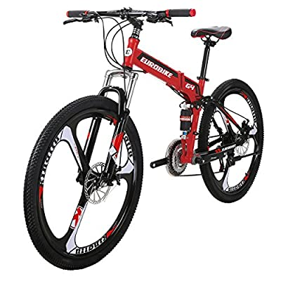 Mountain Bike TSM G4 Bicycle 21 Speed 26 Inches Wheels Dual Suspension Folding Bike Red