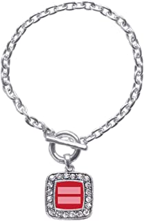 Inspired Silver - Silver Square Charm Toggle Bracelet with Cubic Zirconia Jewelry