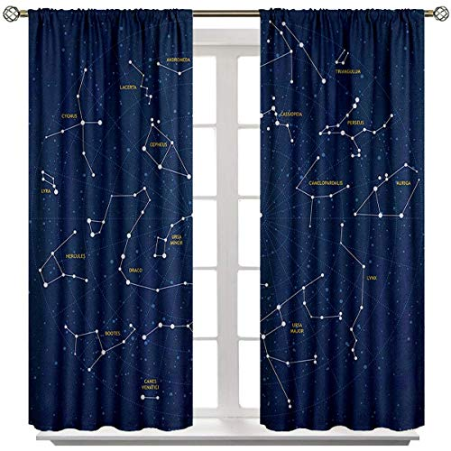 Constellation Room Bedroom Curtains Sky Map Andromeda Lacerta Cygnus Lyra Hercules Draco Bootes Lynx Curtains with Valance W84 x L84 Dark Blue Yellow White