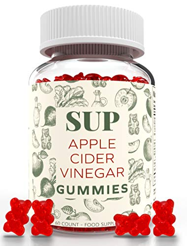 Apple Cider Vinegar Gummies | Raw, Unfiltered ACV with The Mother, Vitamin B9, B12 | Vegan, 60 Count | Gummy Alternative to Capsules | by SUP