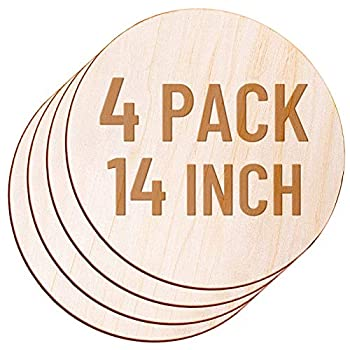 4 Pack 14 Inch Wood Circles for Crafts Acejoz Round Wood Plywood Circles Unfinished Wood for Craft Wood Discs for Door Hanger Wood Burning Painting and Christmas Decorations
