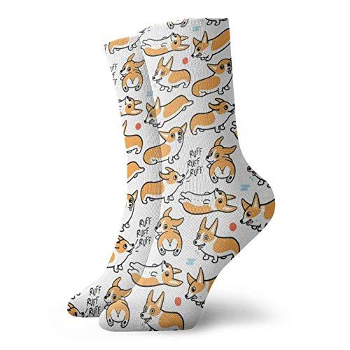 Cutie Corgis Calcetines clásicos de confort atlético casual calcetines 30 cm/11.8 pulgadas para hombres y mujeres unisex