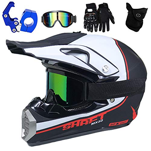 QYTK® Full Face MTB Helm, Motocross Cross Helm für Enduro Downhill MX Mountainbike ATV Junge Motorradhelm Zubehör mit Brille Maske Handschuhe Helmhaken,Helle Weiße Blau,S(52~53CM)